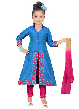 Blue Art Silk Kids Churidar Suit