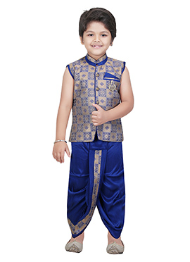 Blue Art Silk Kids Dhoti Kurta