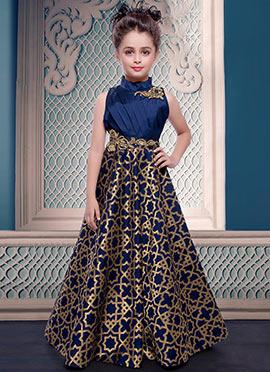 Blue Art Silk Kids Gown