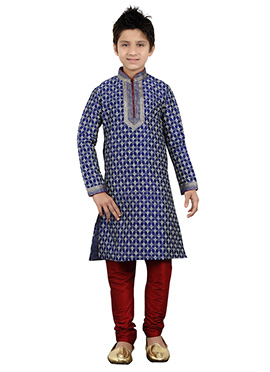 Blue Art Silk Kids Kurta Pyjama