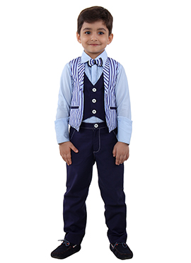 Blue Art Silk Kids Suit