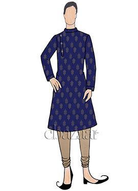 Blue Art Silk Kurta Pyjama Set