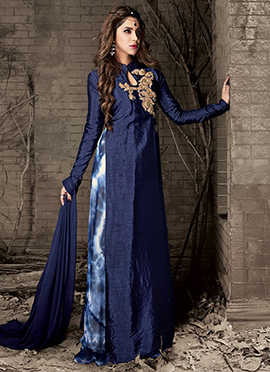 Blue Art Silk Long Choli Lehenga