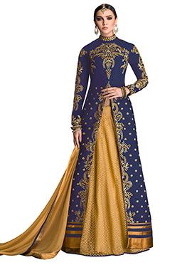 Blue Art Silk Long Choli Lehenga