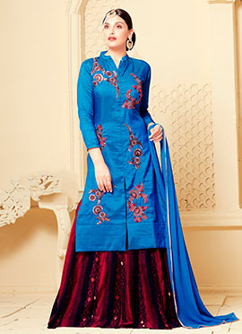 Blue Art Silk Long Choli Umbrella Lehenga