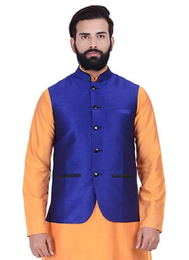 Blue Art Silk Nehru Jacket