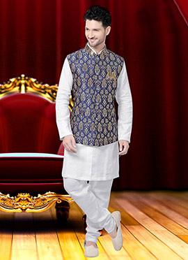 Blue Art Silk Nehru Jacket