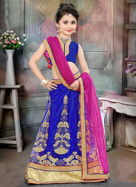 Blue Art Silk Net Kids Lehenga