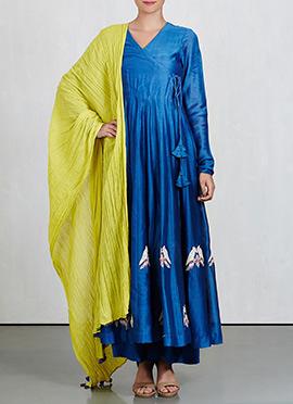 Blue Art Silk Palazzo Suit