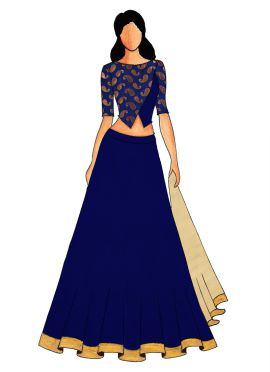 Blue Art Silk Paneled Lehenga