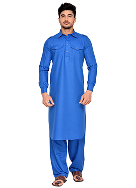 Blue Art Silk Pathani Set