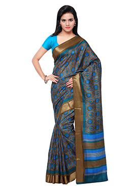 Blue Art Silk Printed Saree