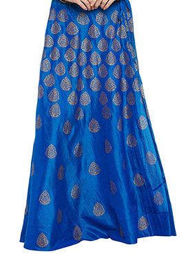 Studiorasa Blue Art Silk Skirt