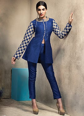 Blue Art Silk Straight Pant Set