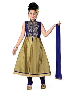 Blue Art Silk Teens Anarkali Suit