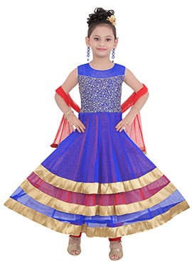 Blue Art Silk Teens Anarkali Suit