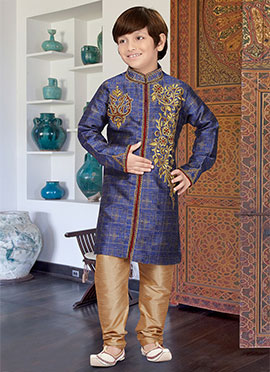 Blue Art Silk Teens Kurta Pyjama