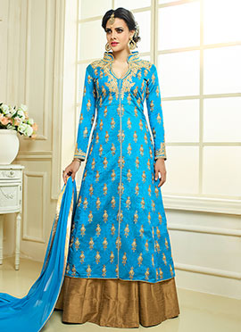 Blue Art Silk Umbrella Lehenga