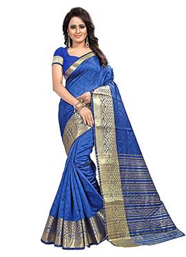 Blue Art Tussar Silk Saree