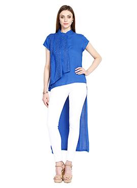 Blue Asymmetrical Viscose Top