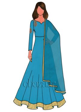 Blue Atoll Raw Silk Embroidered Anarkali Suit