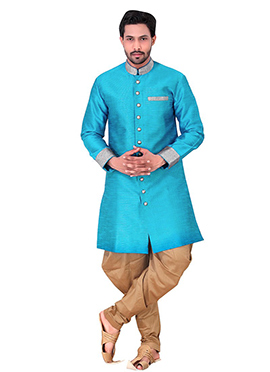 Blue Benarasi Art Silk Achkan Sherwani