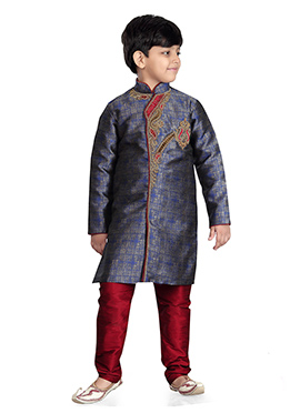 Blue Benarasi Art Silk Kids Kurta Pyjama