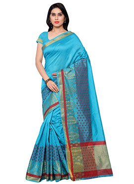 Blue Benarasi Art Silk saree