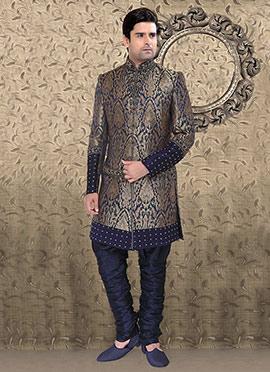 Blue Benarasi Brocade Breeches Style Sherwani