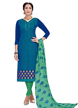 Blue Benarasi Cotton Churidar Suit