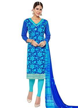 Blue Benarasi Jacquard Churidar Suit