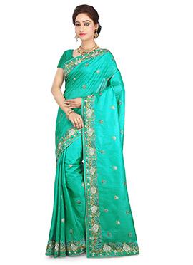 Turquoise Benarasi Pure Silk Saree