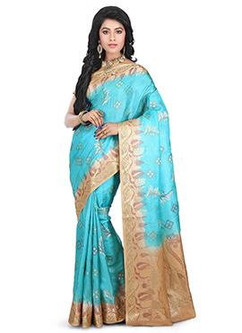 Blue Benarasi Pure Silk Saree