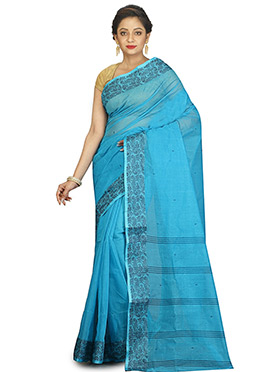 Blue Bengal Handloom Tant Saree