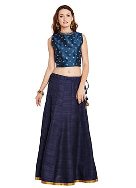 Blue Bhagalpuri Art Dupion Silk Skirt Set
