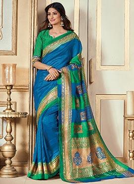 Blue Bhagalpuri Art Silk Saree