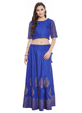 Blue Bhagalpuri Dupion Umbrella Lehanga choli