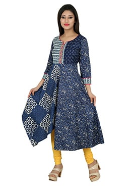 Blue Blended Cotton anarkali Kurti