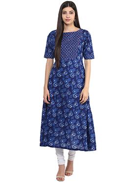 Blue Blended Cotton Anarkali Kurti