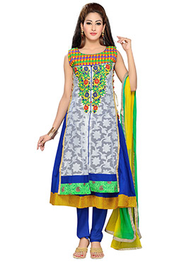 Blue Blended Cotton Anarkali Suit