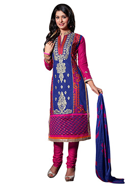 Blue Blended Cotton Churidar Suit