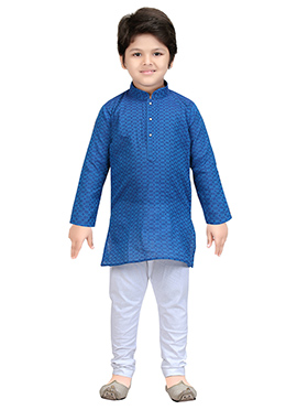 Blue Blended Cotton Kids Kurta Pyjama