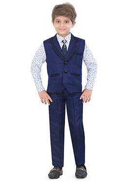 Blue Blended Cotton Kids Suit