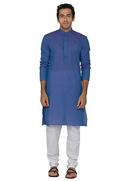 Blue Blended Cotton Kurta Pyjama