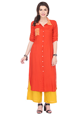 Orange Blended Cotton N Rayon Palazzo Suit