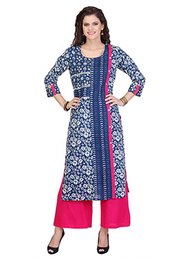 Blue Blended Cotton N Rayon Palazzo Suit
