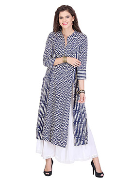 Blue N White Printed Palazzo Suit
