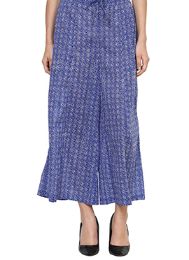 Blue Blended Cotton Palazzo Pant