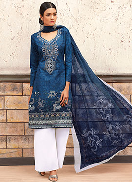 Blue Blended Cotton Palazzo Suit