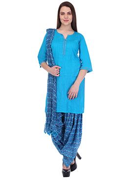 Blue Pure Handloom Cotton Patiala Suit